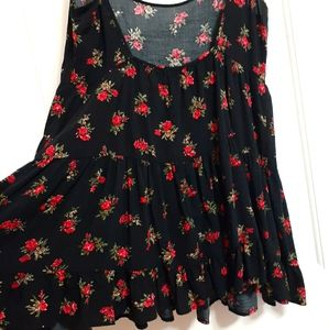 Brandy Melville Black Floral swing tunic top